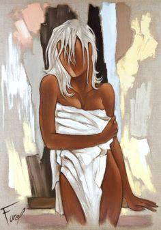 Reproduction d'art 'La Serviette', de Pierre Farel, Taille: 70 x 100 cm