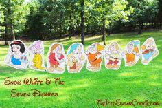 DIY Snow White And The Seven Dwarfs Birthday Party Flag Hanging Banner Ideas- Dopey, Grumpy, Sleepy, Doc, Sneezy, Bashful, Happy The…