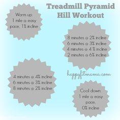 Treadmill Pryramid Hill Workout   happyfitmama.com
