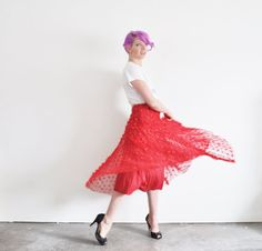 red ribbon bow tie high waist skirt . sheer salsa dance by DOTTO