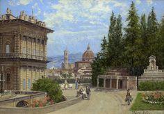 Antonietta Brandeis | Gardens in Florence (Part of pair with Venetian Canal); Antonietta Brandeis , 1849-1910