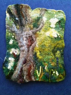 RESERVED FOR AMY - Tree with Mayflower - Felt Fibre Art with relief needle-felting and free style stitching - Spring Greens