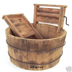 Wooden wash tub & wash board for hand washing laundry.