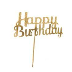 Gold Glitter & Shimmer Happy Birthday Cake Topper - Cake Bunting,... ($9.61) via Polyvore