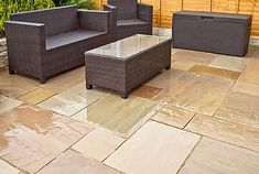 Autumn Brown Sandstone Paving will transform you garden from only Incl VAT with FREE* Delivery available! Contact us today for a FREE quote! Slate Paving, Sandstone Paving, Paving Stones, Small Patio Spaces, Outdoor Spaces, Outdoor Decor, Patio Kits, Tuscan Garden, Patio Slabs