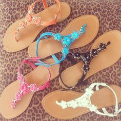 flower accented sandals