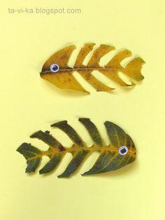рыбы из осенних листьев