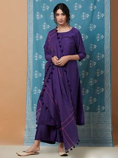 Purple Cotton Silk Pleated Kurta with Palazzo and Mulmul Dupatta- Set of 3 Pakistani Formal Dresses, Pakistani Fashion Casual, Pakistani Dress Design, Indian Fashion, Indian Attire, Indian Outfits, Indian Dresses, Indian Wear, Stylish Dresses