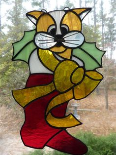 Stained Glass Christmas Kitty Suncatcher