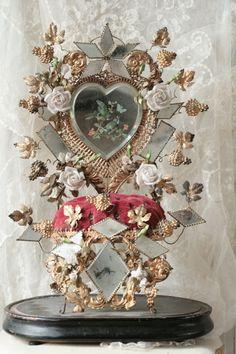 Decorating With The French Globe de Mariée Headpiece Wedding, Bridal Headpieces, Home Altar, Wax Flowers, French Wedding, Wedding Keepsakes, Bridal Crown, Glass Domes, Diamond Shapes