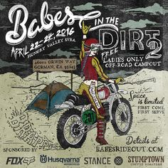 Babes in the Dirt 2 is on! April and (main riding day is Saturday ) at Hungry Valley SVRA Motorcycle Events, Wind In My Hair, Bad To The Bone, Motocross, Monster Trucks, Artwork, Artist, Wheels, April 22