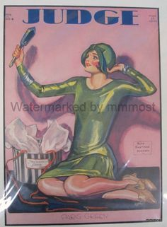 April 13 1929 Judge Magazine Cover Ruth Eastman Rodgers Flapper Admiring Cloche #Vintage