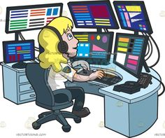 A Productive Female 911 Dispatcher :  A woman with blonde hair wearing a white dispatcher uniform with gold arm patch midnight blue pants black shoes black wired headphones smirks while sitting on a gray swivel chair behind a light blue table full of multiple black monitors keyboard controller black keypads and telephone