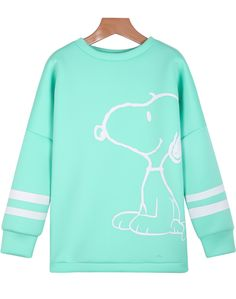 Green Long Sleeve Snoopy Print Sweatshirt 19.67
