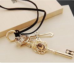 Vintage Gold Crown&Key&Heart Leather Cord Pendant Necklace