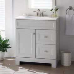 Home Decorators Collection Sedgewood in. W Bath Vanity in Dove Gray with Solid Surface Technology Vanity Top in Arctic with White Sink - The Home Depot Bathroom Vanity Tops, Bath Vanities, White Bathroom, Bathroom Storage, Modern Bathroom, Small Bathroom, Bathroom Cabinets, Lavender Bathroom, Girl Bathrooms