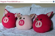 On Sale Pigling Pig Decorative Pillow on Etsy, $22.50