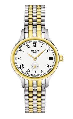 Tissot Women's Swiss Bella Ora Piccola Two-Tone Pvd Stainless Steel Bracelet Watch Casual Watches, Cool Watches, Stainless Steel Watch, Stainless Steel Bracelet, Oras, Watches Online, Quartz Watch, Gold Watch, Bracelet Watch