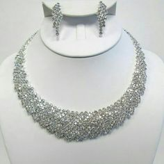 Crystal Rhinestone necklace set #beautiful #crystal #rhinestone #jewelry for #weddings #proms #pageants or any #event Jewelry Necklaces
