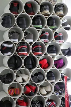 This PVC shoe rack is genius: Find pipes that are just the right size for your shoe collection (she recommends about a 6-inch diameter), cut them down to shoe-length and stack together using pipe glue. Ta-da!  Get the tutorial at Cookie Loves Milk » What you'll need: PVC pipe ($6, amazon.com), pipe glue ($11, amazon.com)