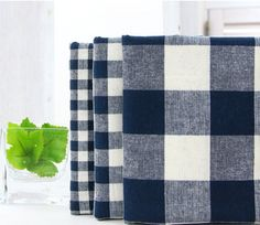 3psc/set 1/6 yard Navy Check pack 30's Dyeing by KoreanFabric