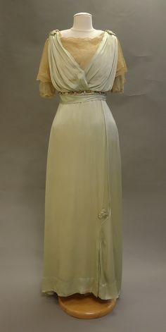 Light Green Silk Gown with Lace front view 190-1914