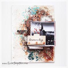 Dream Big - mixed media canvas - by Kasia Bogatko