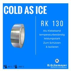 Das RK 130 Alumium-Klebeband kann zum Schützen und Isolieren bei Temperaturen zwischen -40 und +100 °C angewendet werden! #Klebeband #Krueckemeyer #Adhesive #Tape #Aluminium #Alu #Kleben #Kalt #Heiss