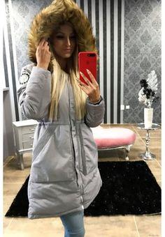 Dlhá zimná bunda s kožušinkou - svetlošedá