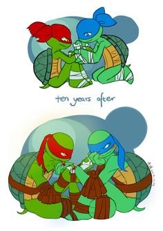 TMNT-raph and leo by huer13