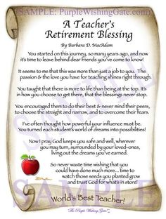 This beautiful teacher's blessing is a poem meant to ease the bitter-sweet experience of retiring. It's a Keepsake Gift, Framed and Personalized in or Retirement Poems For Teachers, Retirement Speech, Teachers Day Card, Retirement Celebration, Retirement Quotes, Teacher Cards, Retirement Cards, Teacher Gifts, Retirement Ideas