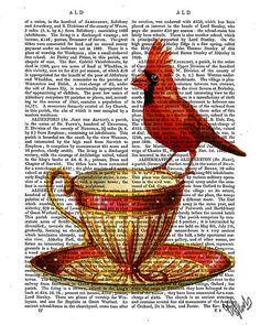 Red Cardinal and Vintage Teacup  tea cup print by DottyDictionary, $15.00