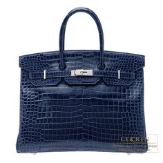 0211799a82ff Hermes Birkin bag 35 Blue abysse Porosus crocodile skin Silver hardware  Hermes Bags