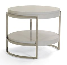 """Lawson Round Side Table - Mitchell Gold + Bob Williams - reg $875, sale $700 / 28""""Dia x 22H - White laquered wood with polished stainless frame"""