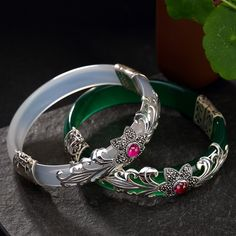 Buy LouLeur 925 sterling silver jade bangles silver green white handmade natural jade bangles fashion jewelry for women charms Bracelets En Argent Sterling, Sterling Silver Earrings, Silver Jewellery Indian, Silver Bangles, Silver Rings, Jewellery Uk, Silver Necklaces, 925 Silver, Jade Jewelry