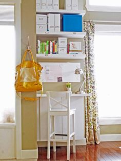 Looking for Living Space and Home Office ideas? Browse Living Space and Home Office images for decor, layout, furniture, and storage inspiration from HGTV. Corner Office, Office Nook, Kitchen Office, Mini Office, Small Office, Desk Nook, Desk Space, Office Art, Office Ideas