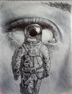 Loving this sketch by Black Pen Sketches, Drawing Sketches, Sketching, Space Drawings, Art Drawings, Ballpoint Pen Drawing, Eye Sketch, Deep Art, Art Addiction