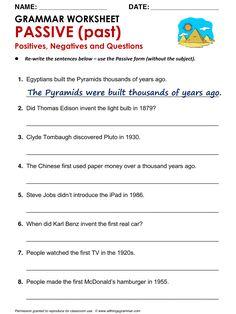English Grammar Worksheet, PASSIVE (past) Positives, Negatives and Questions, Active / Passive, http://www.allthingsgrammar.com/passive.html