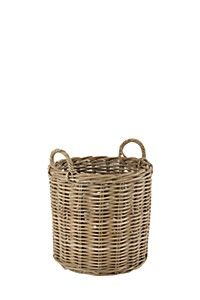 Bring nature indoors with this organic natural rattan round utility. The rattan is soaked in mud for a few days to get a natural colour and is then hand wo