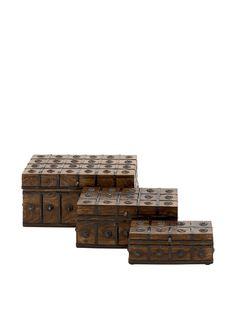 Set of 3 Wood and Metal Grid Boxes, Brown, http://www.myhabit.com/redirect/ref=qd_sw_dp_pi_li?url=http%3A%2F%2Fwww.myhabit.com%2Fdp%2FB00PJS6EUI%3F