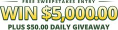 Enter for a chance to win $5,000! They also give away $50 every single day! - http://www.momscouponbinder.com/enter-chance-win-5000-also-give-away-50-every-single-day/