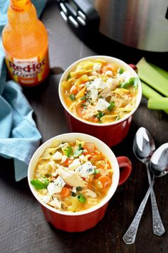 Slow Cooker Buffalo Chicken Noodle Soup. This healthy crock pot soup tastes like comfort with a kick! | hostthetoast.com