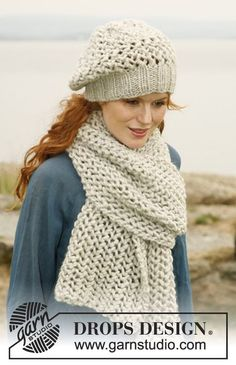"""Set consists of: Knitted DROPS scarf and hat with lace pattern in """"Eskimo"""" or """"Andes"""". ~ DROPS Design"""