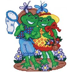 Mary Maxim - Frog Couple Plastic Canvas Kit - A perfect day for a garden stroll.