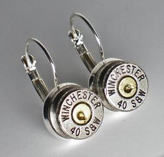 40 Smith & Wesson Winchester Nickel Bullet Head Drop Earrings set Steampunk Bullet Jewelry via Etsy