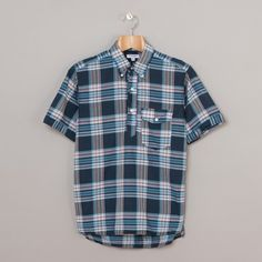 Engineered Garments Madras Popover Shirt in Navy / White / Red Madras