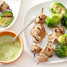 Grilled Balsamic-Marinated Chicken and Brussels Sprouts with Basil-Spinach Dipping Sauce From Better Homes and Gardens, ideas and improvement projects for your home and garden plus recipes and entertaining ideas.