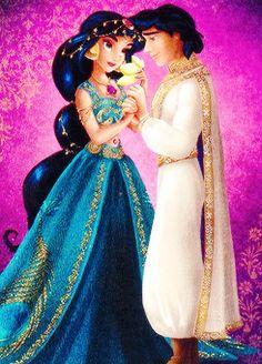 Disney Fairytale Designer Collection: Jasmine and Aladdin Walt Disney, Disney Pixar, Disney Couples, Disney Animation, Disney And Dreamworks, Disney Cartoons, Disney Magic, Disney Princess Jasmine, Disney Princess Pictures