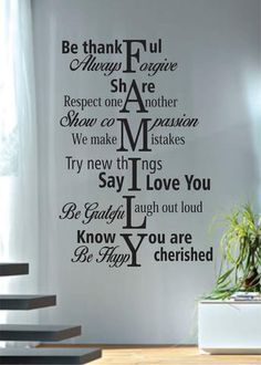Family Rules The latest in home decorating. Beautiful wall vinyl decals, that are simple to apply, are a great accent piece for any room, come in an array of colors, and are a cheap alternative to a c