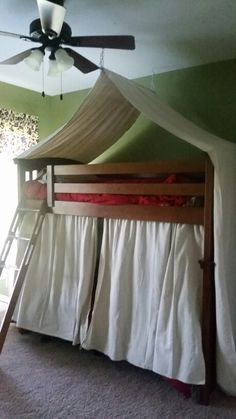 Bunk bed tent made from drop cloths for boys camping themed room